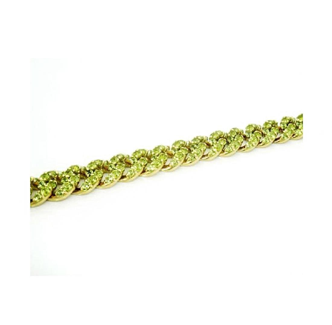 18k Gold 14.50 carats TCW Peridot Cuban Link Bracelet - 4