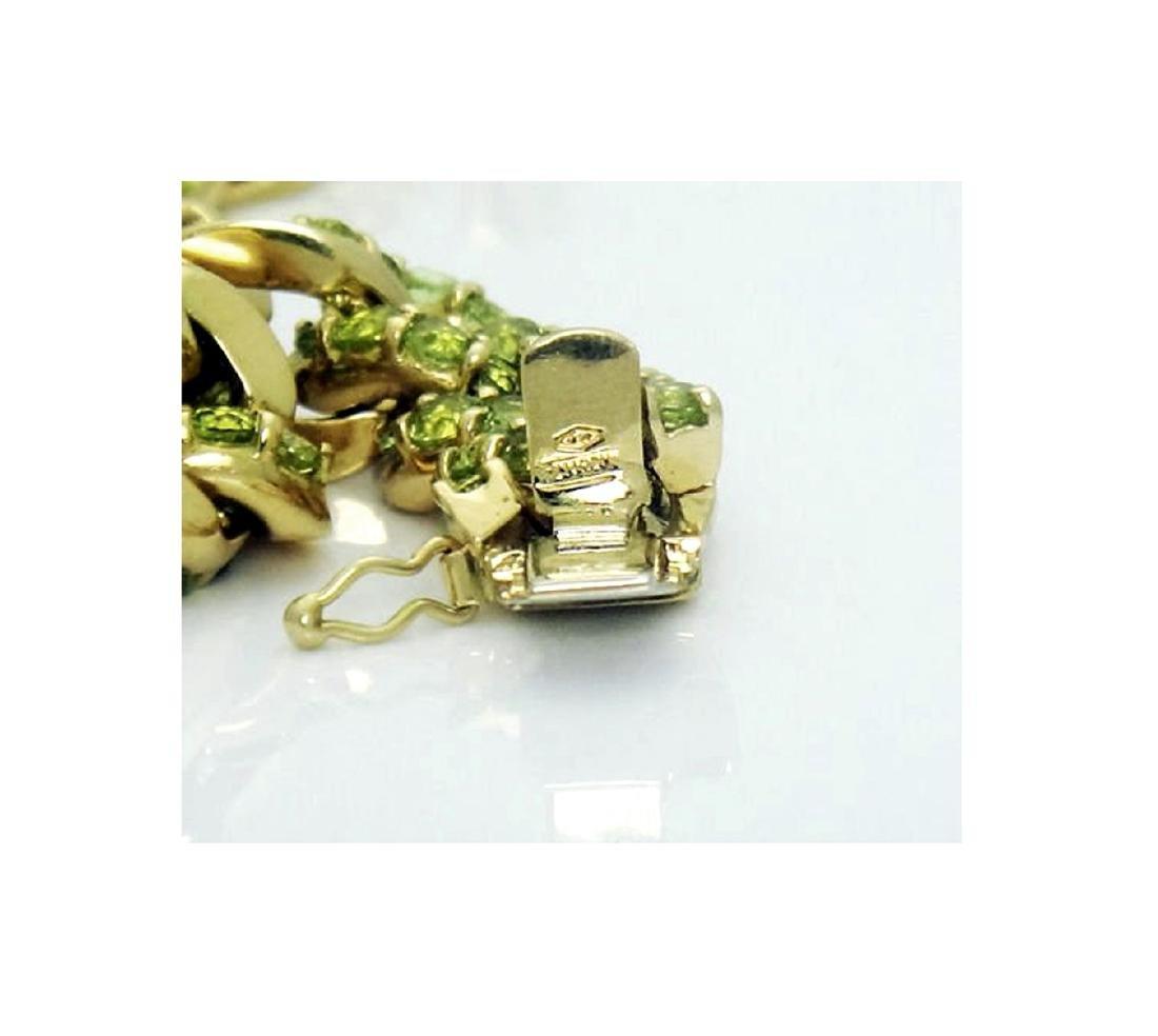 18k Gold 14.50 carats TCW Peridot Cuban Link Bracelet - 5
