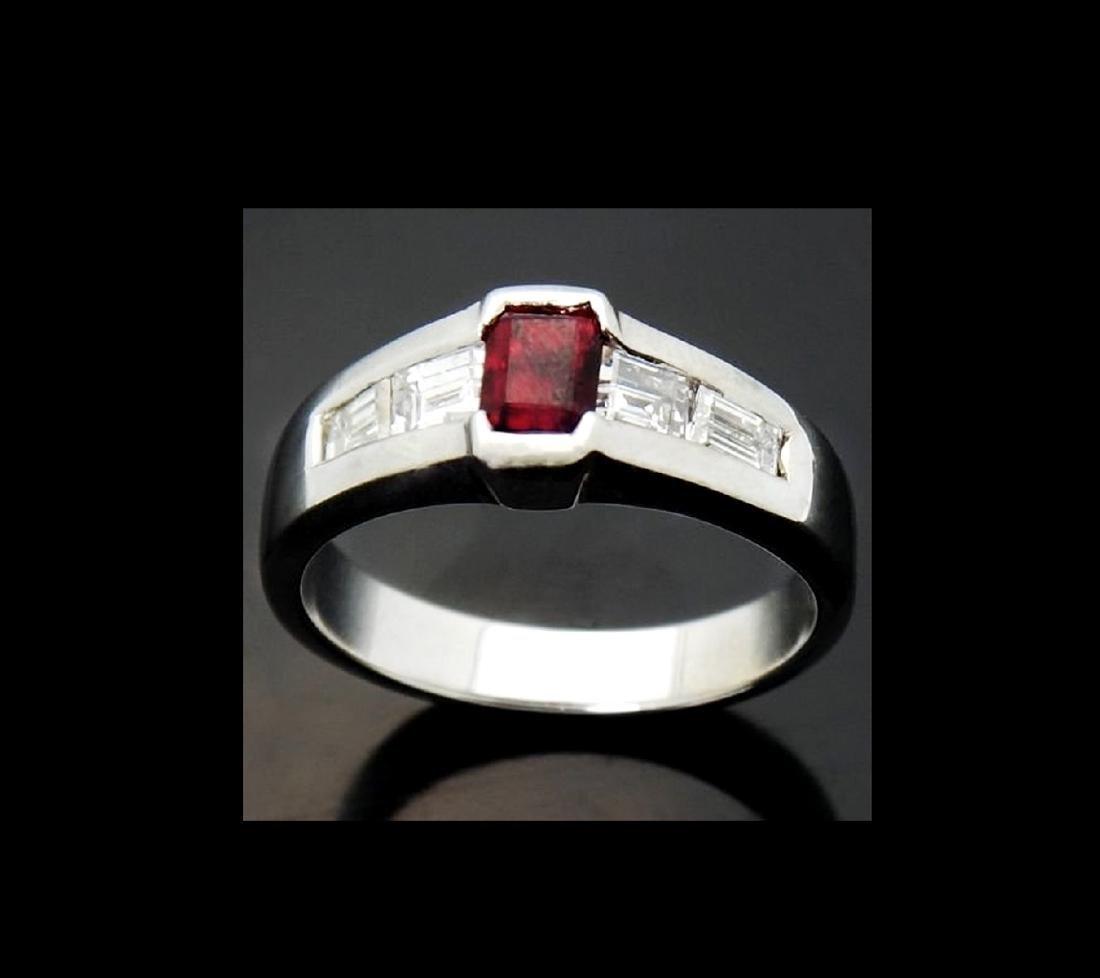 14k White Gold & Over 1.00 ct VS E Diamond & Pigeon Red - 4