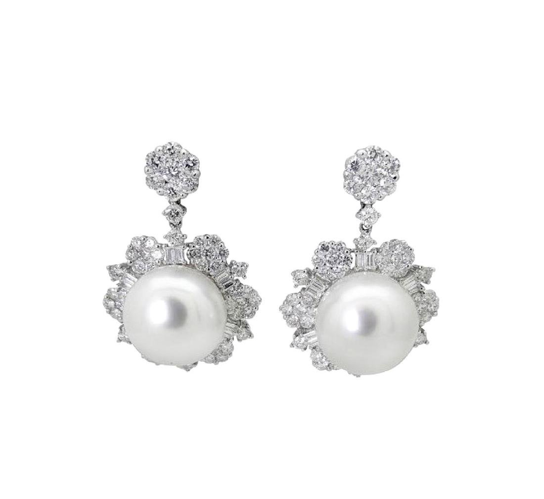 18k Over 3.00 TCW Diamond & Pearl Drop Dangle Earrings