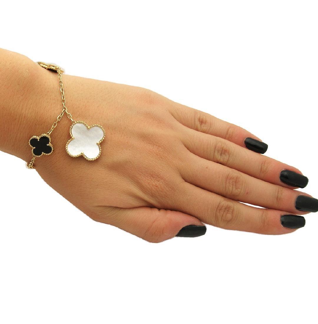 Van Cleef & Arpels 18k Alhambra Charm Bracelet - 4