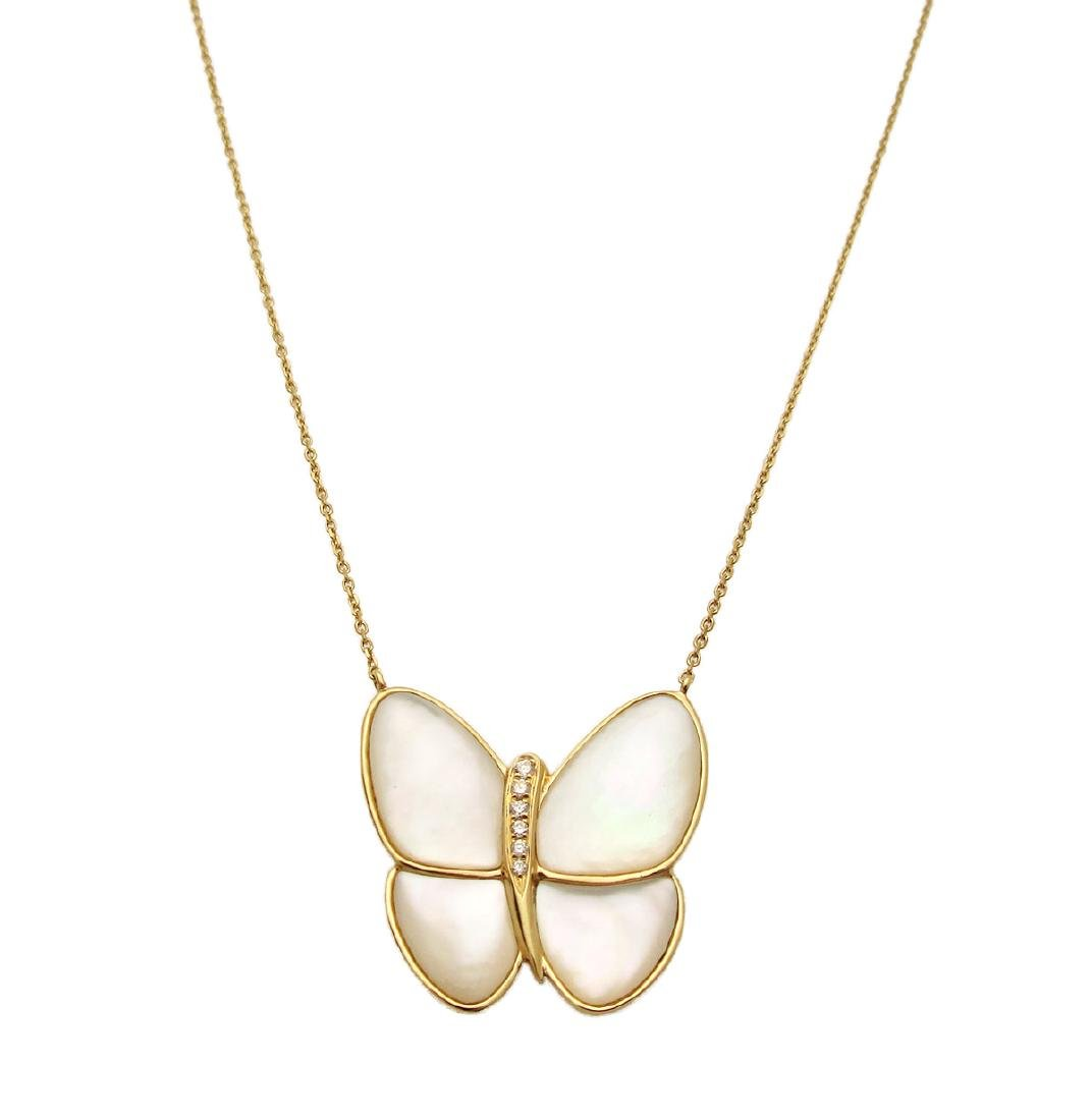 Van Cleef & Arpels 18k FlyingDiamond Butterfly Necklace