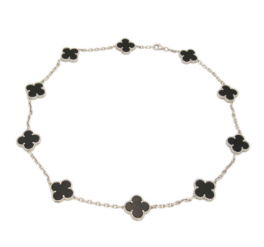 Van Cleef & Arpels 18K White Gold Black Onyx Alhambra N