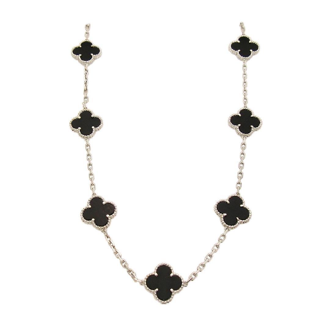 Van Cleef & Arpels 18K White Gold Black Onyx Alhambra N - 4