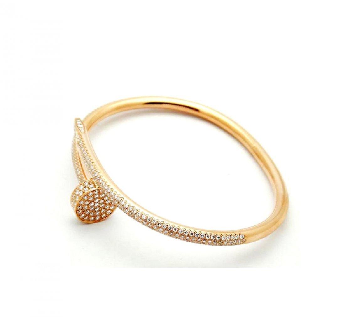 Cartier Nail 18K Pink Gold Diamond Bracelet - 2