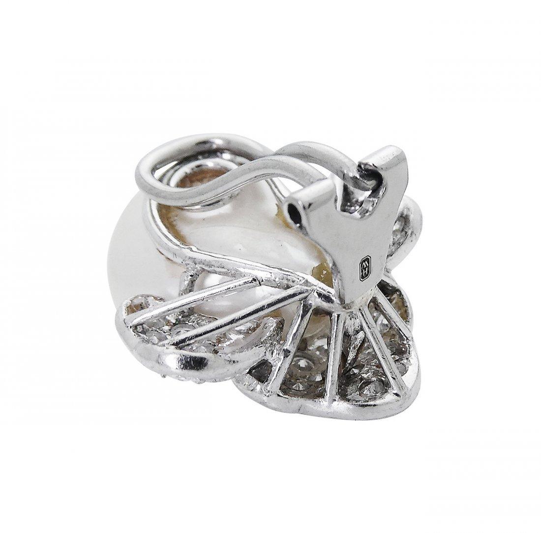 Harry Winston PT 3.50 TCW Diamond & Pearl Clip Earring - 3