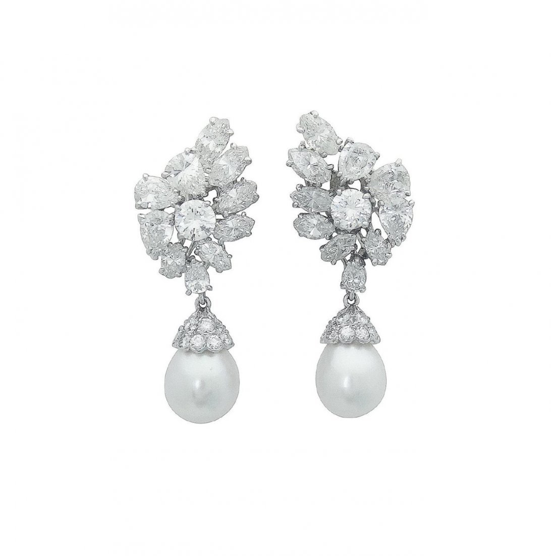 Estate Platinum Pearl 10Ct VVS Clarity Diamond Earrings