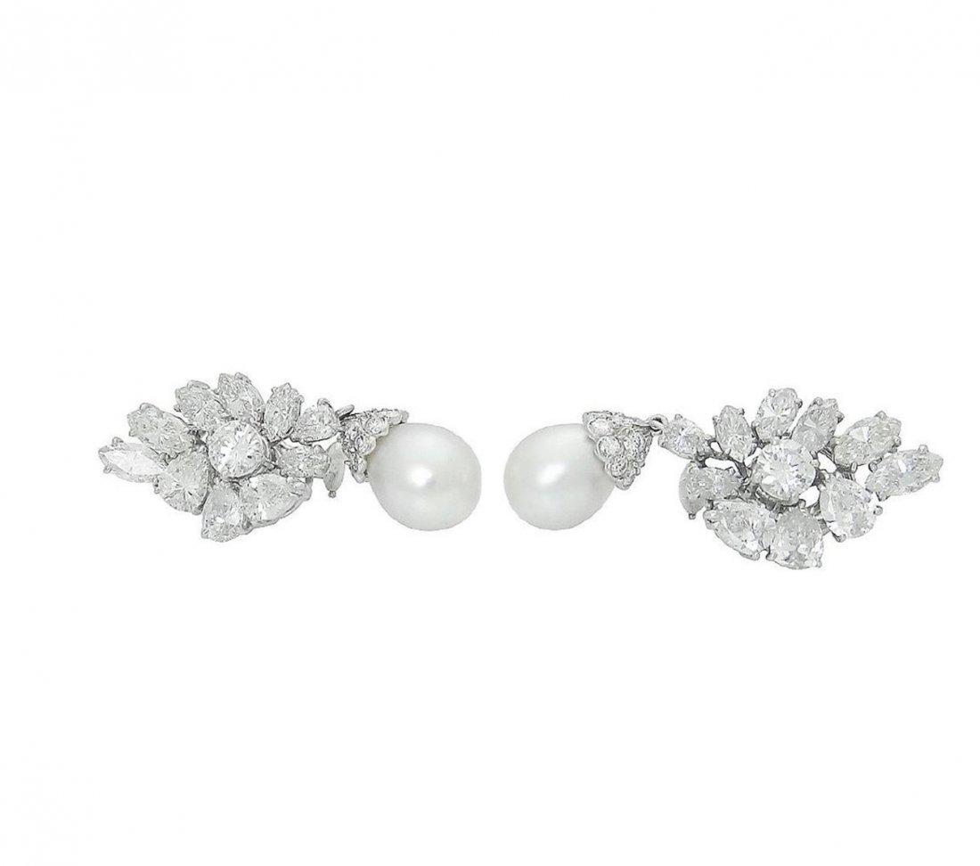 Estate Platinum Pearl 10Ct VVS Clarity Diamond Earrings - 2