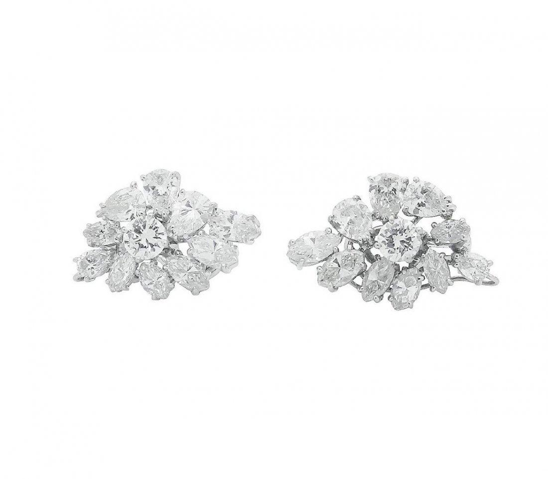 Estate Platinum Pearl 10Ct VVS Clarity Diamond Earrings - 3