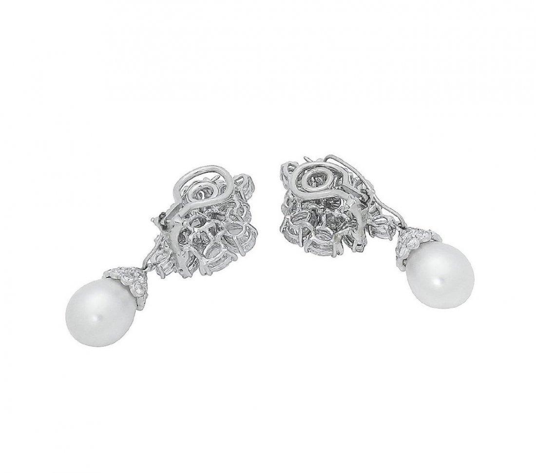 Estate Platinum Pearl 10Ct VVS Clarity Diamond Earrings - 5