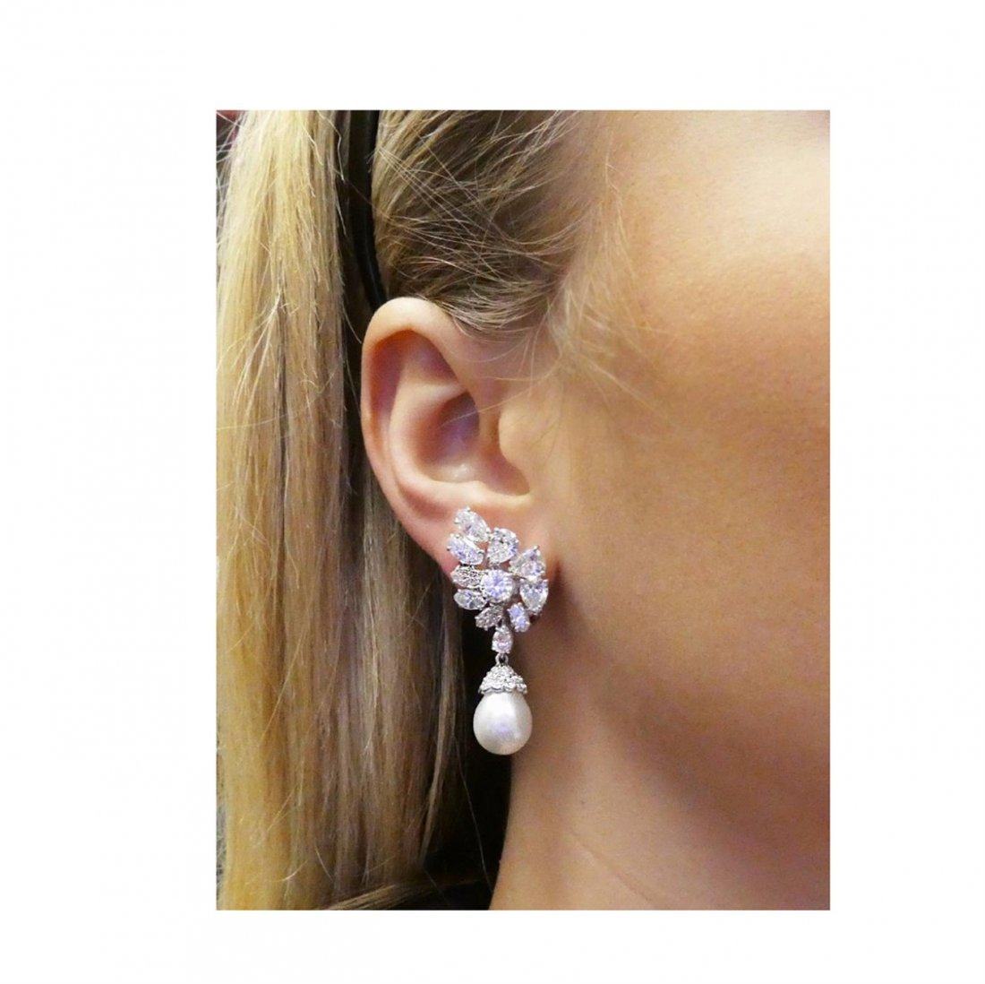 Estate Platinum Pearl 10Ct VVS Clarity Diamond Earrings - 6