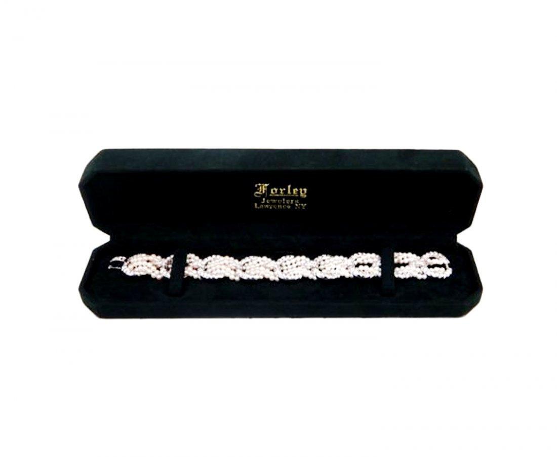 Estate Platinum 8.50TWC Diamond Cultured Pearl Bracelet
