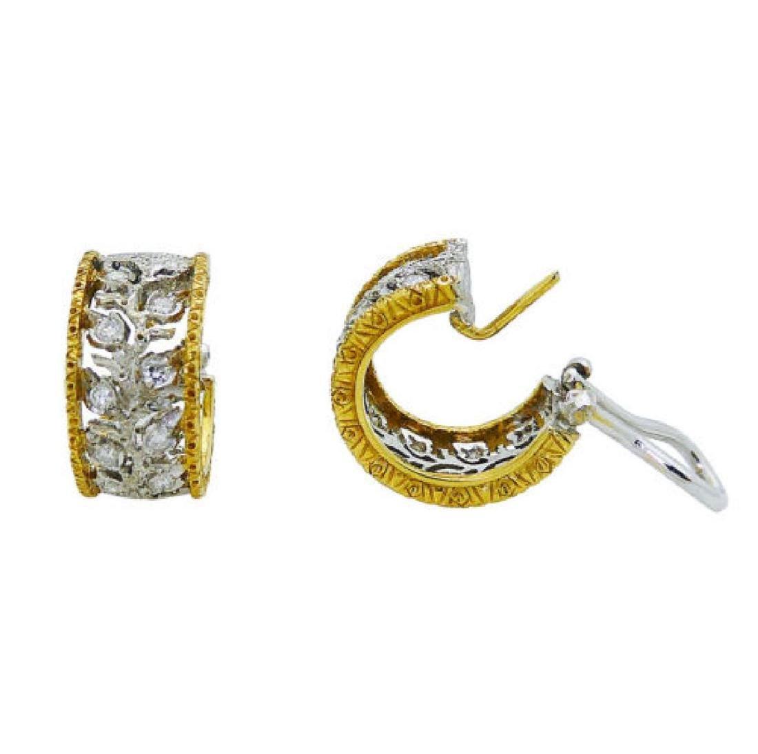Buccellati 18k TwoTone Scacchi Diamond Hoop Earrings