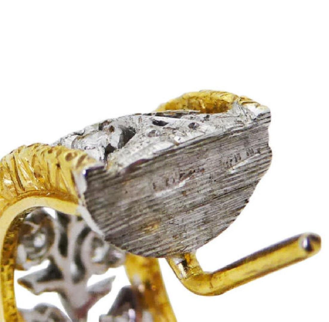 Buccellati 18k TwoTone Scacchi Diamond Hoop Earrings - 2
