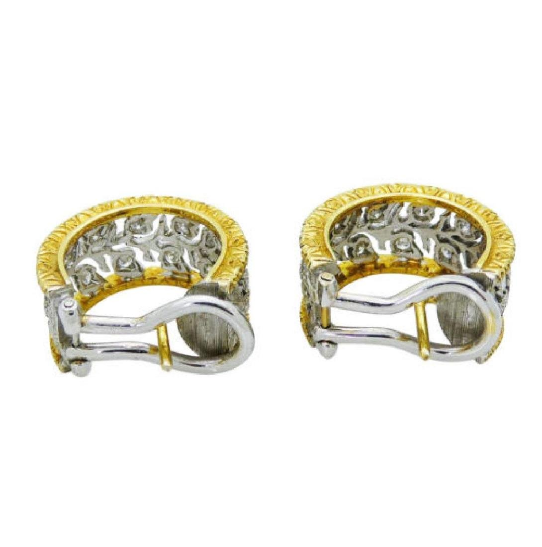 Buccellati 18k TwoTone Scacchi Diamond Hoop Earrings - 3