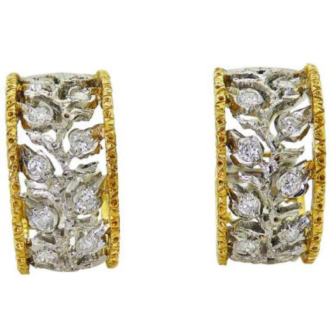 Buccellati 18k TwoTone Scacchi Diamond Hoop Earrings - 4