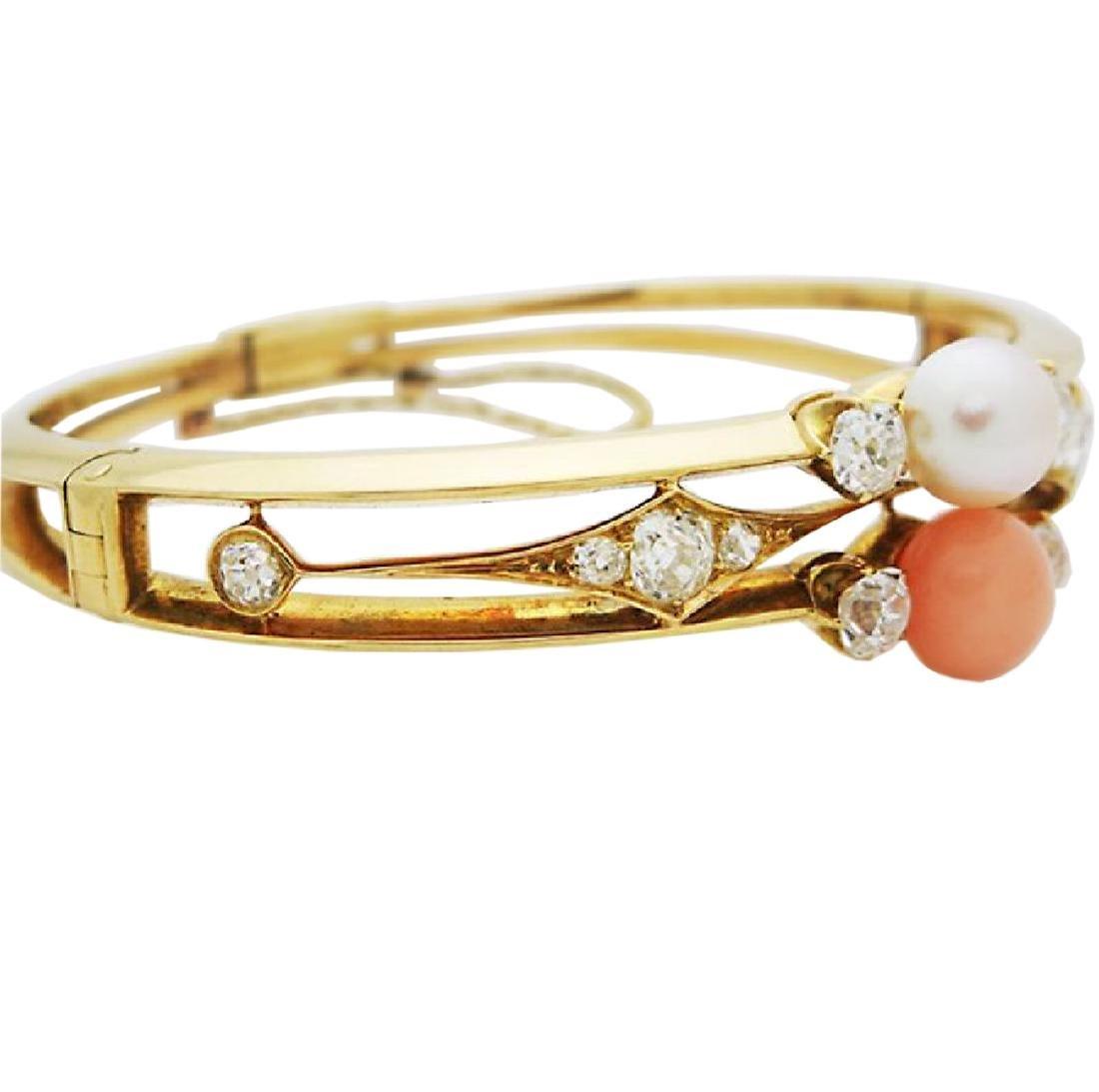 Antique 18K Gold natural Pearl, Coral Diamond Bracelet - 3