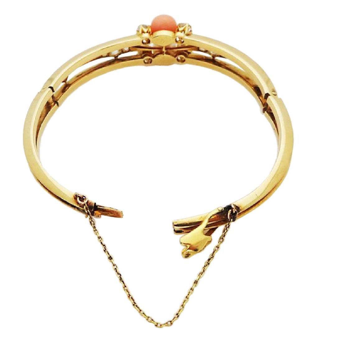 Antique 18K Gold natural Pearl, Coral Diamond Bracelet - 4