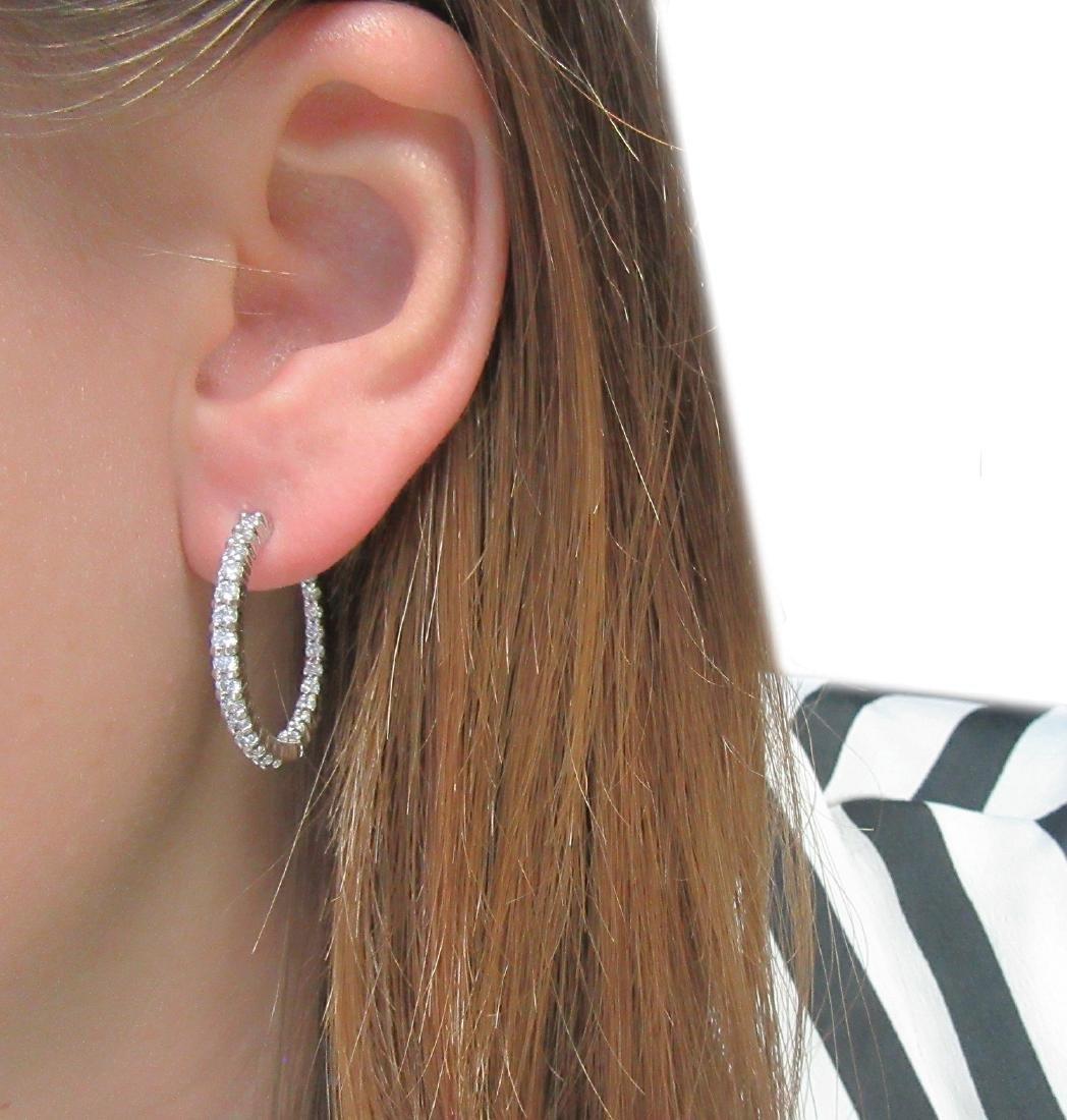 Roberto Coin Approx. 2TCW  Diamond Hoop Earrings - 4