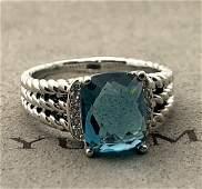 David Yurman Sterling Silver Petite Wheaton Blue Topaz