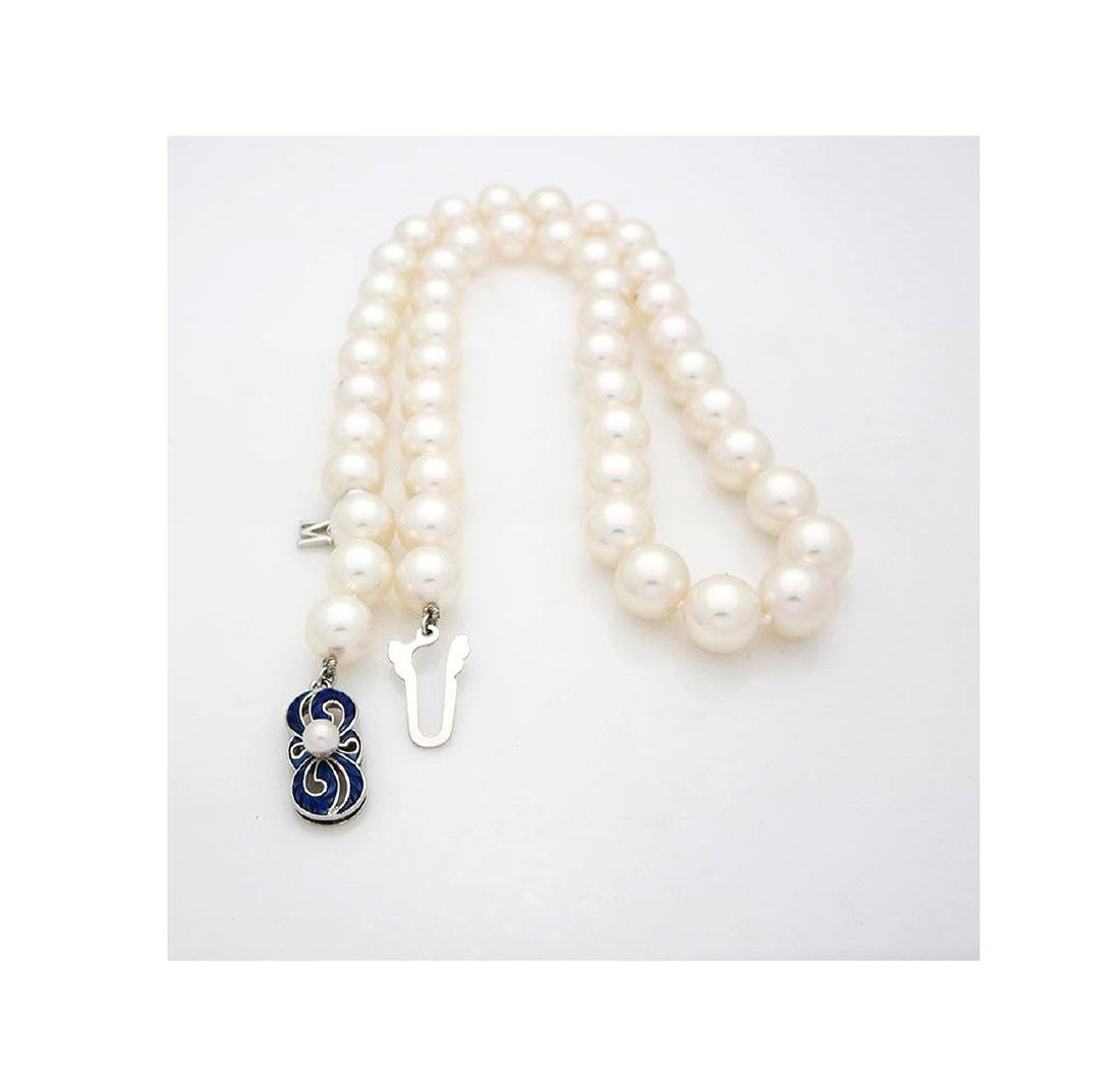Mikimoto Pearl Necklace 18kGold & Blue Enamel Necklace - 3