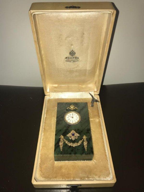 RUSSIAN SILVER NEPHRITE DIAMOND CLOCK