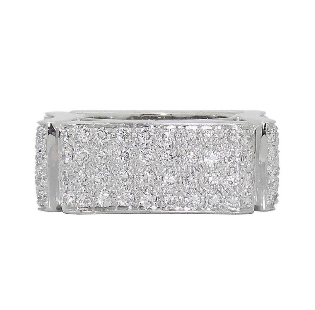 Modern Italian 18k White 5.00 TCW VS E-F Diamond Ring - 3