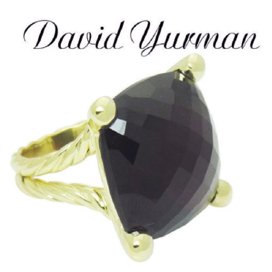 David Yurman 18k Y Gold Cushion Faceted Garnet Ring