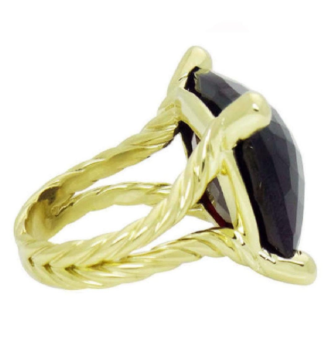 David Yurman 18k Y Gold Cushion Faceted Garnet Ring - 2