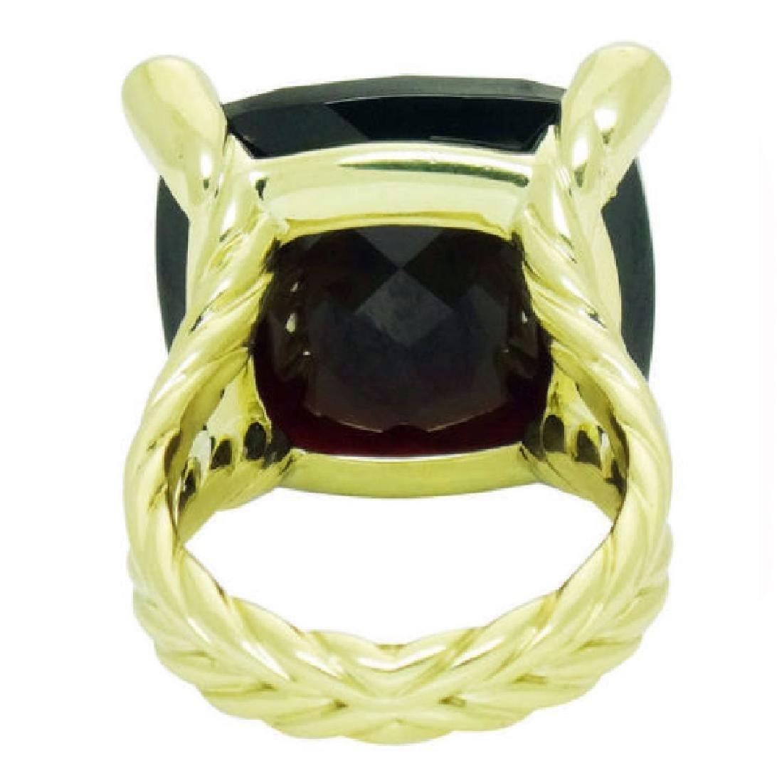 David Yurman 18k Y Gold Cushion Faceted Garnet Ring - 3