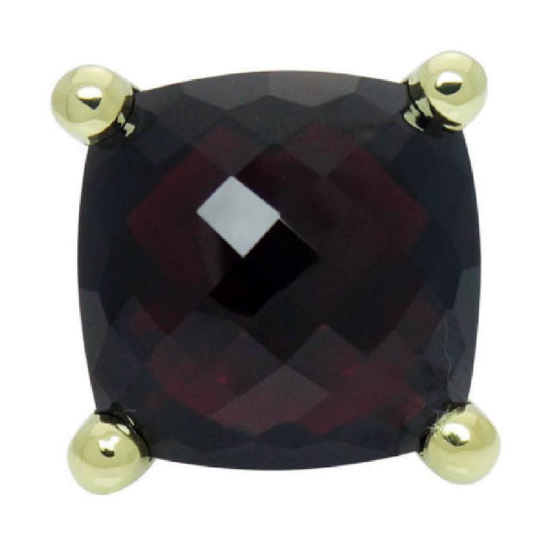 David Yurman 18k Y Gold Cushion Faceted Garnet Ring - 6