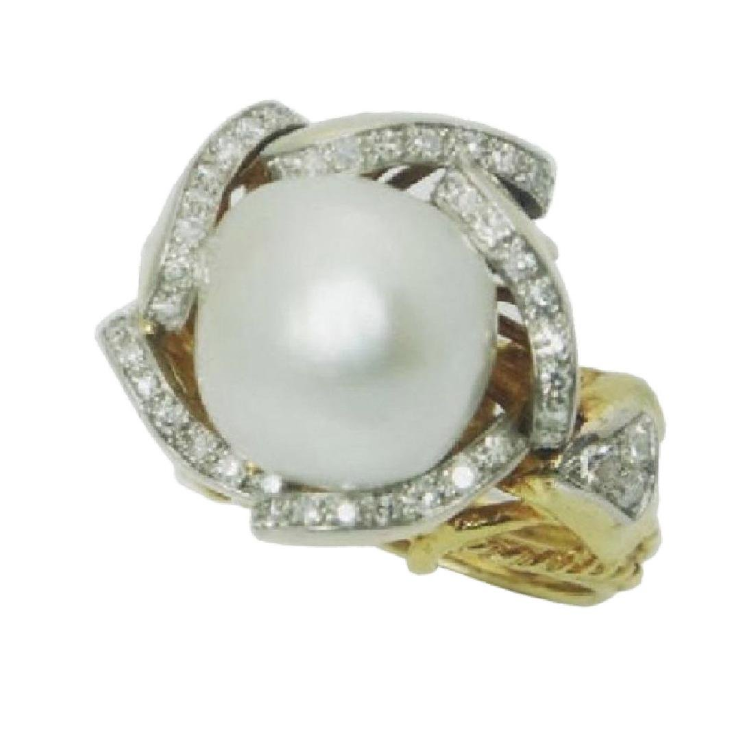 Mauboussin 13mm Pearl 1.00ct Diamonds 18k Gold Ring