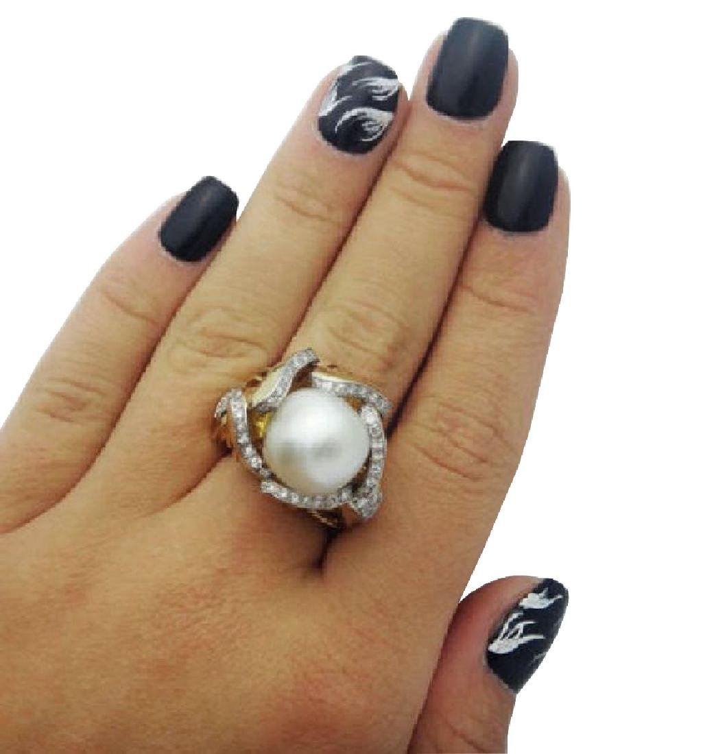 Mauboussin 13mm Pearl 1.00ct Diamonds 18k Gold Ring - 2