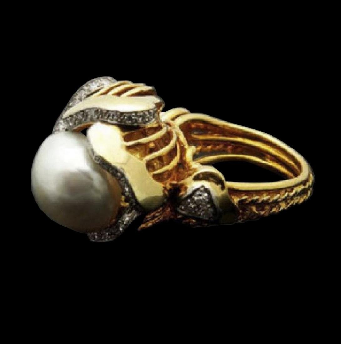 Mauboussin 13mm Pearl 1.00ct Diamonds 18k Gold Ring - 3