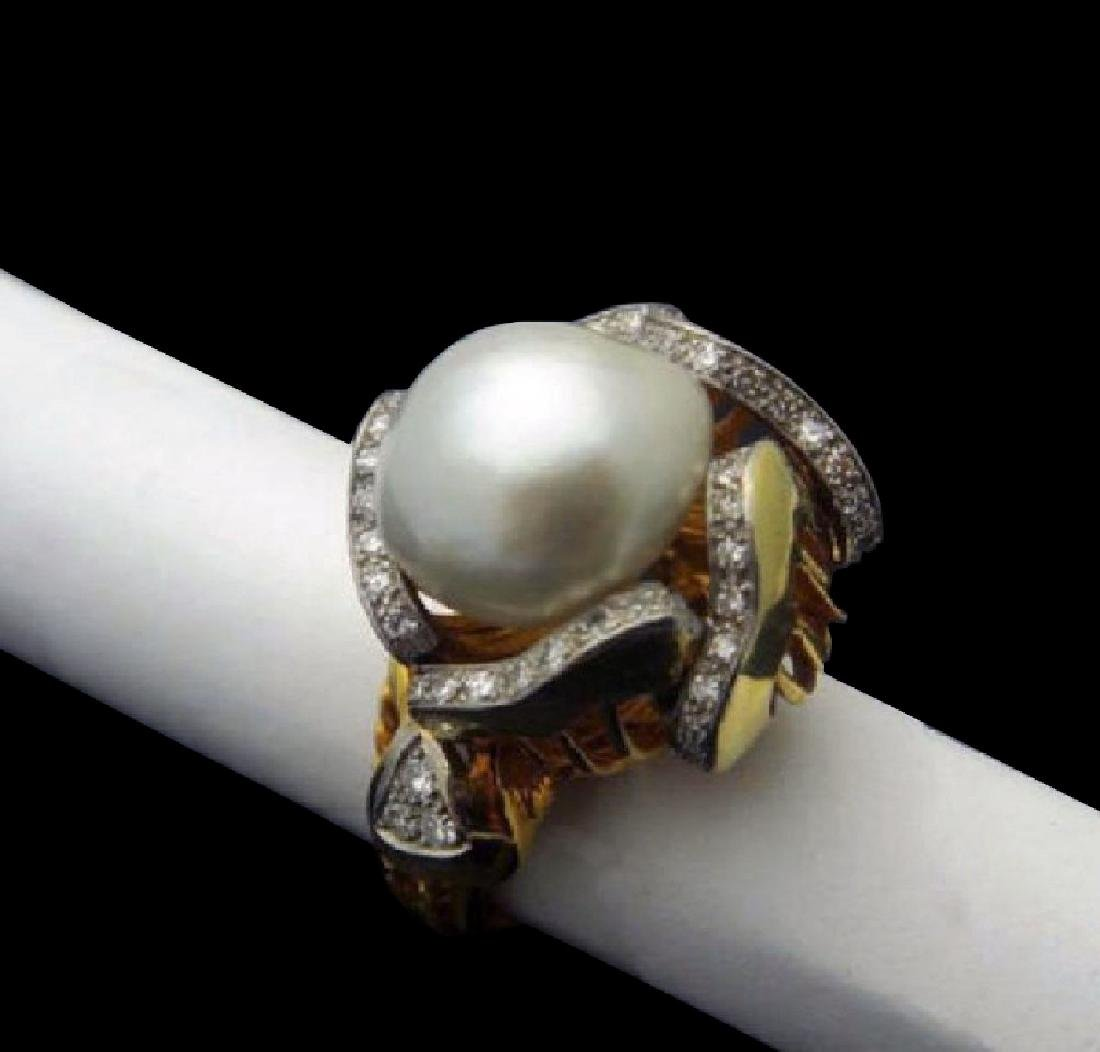 Mauboussin 13mm Pearl 1.00ct Diamonds 18k Gold Ring - 5