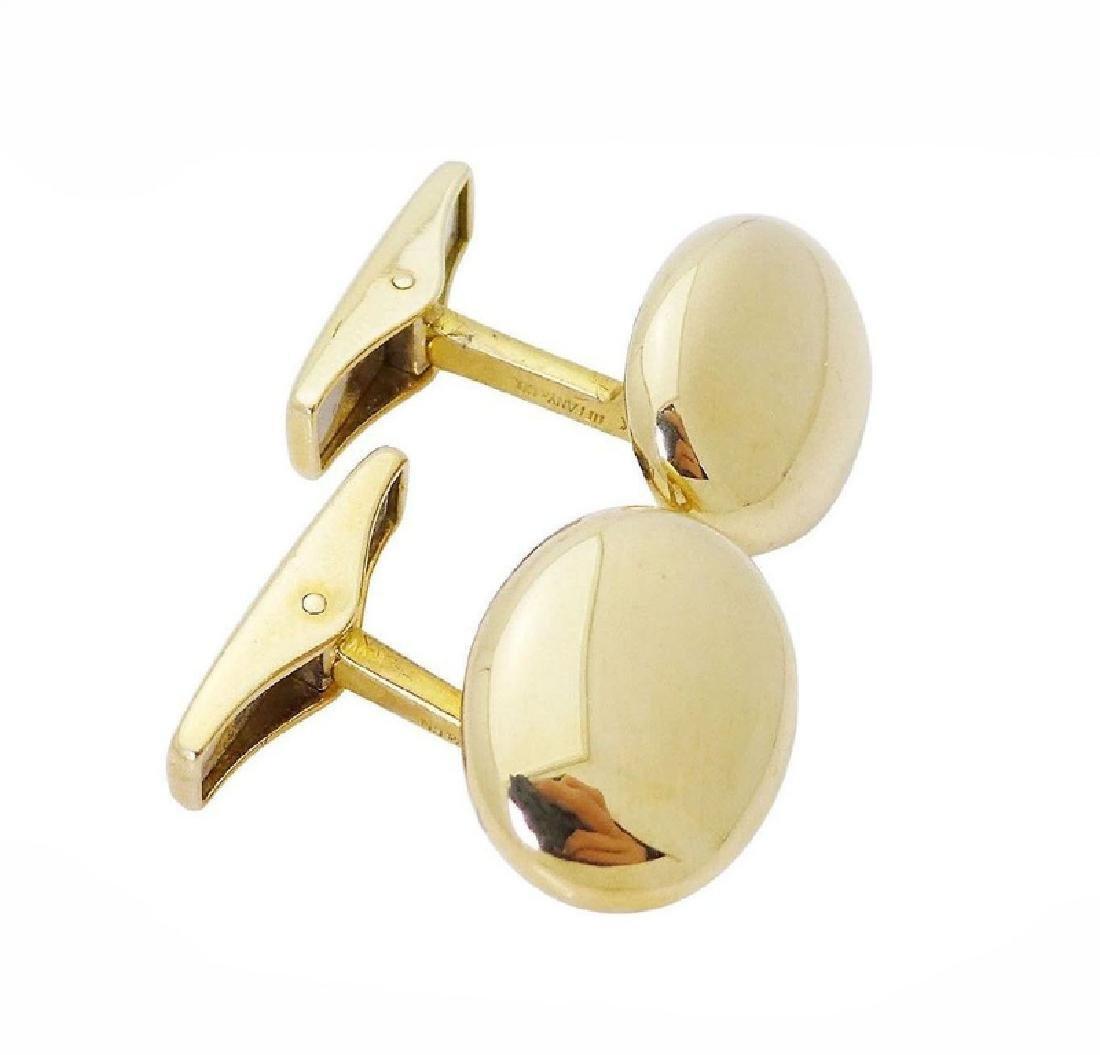 Tiffany & Co. 18k Gold German Polished Oval Cufflinks