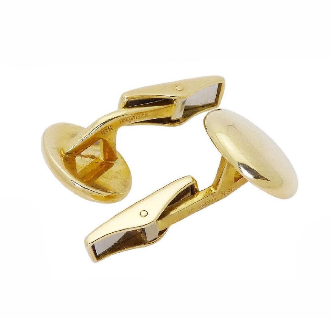 Tiffany & Co. 18k Gold German Polished Oval Cufflinks - 3