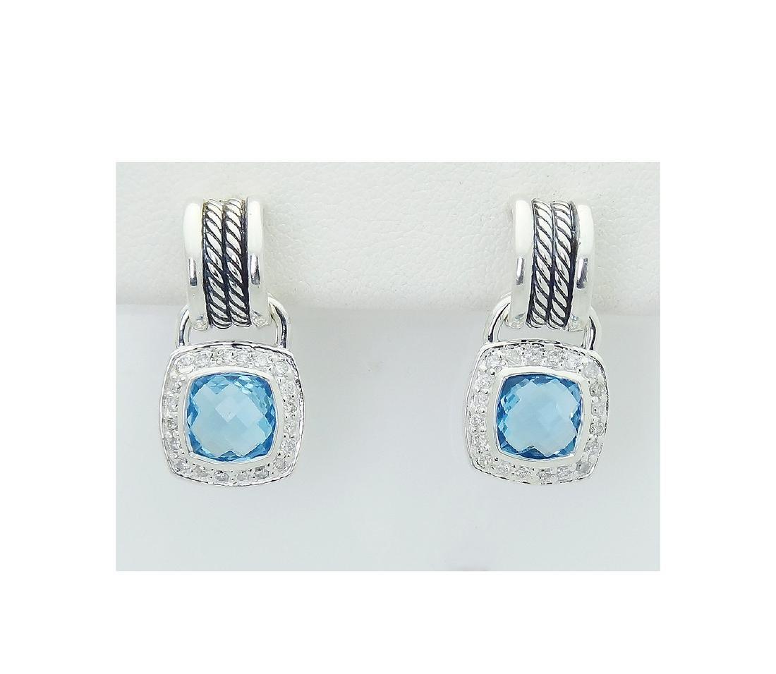 DAVID YURMAN Sterling Silver Blue Topaz and Diamond