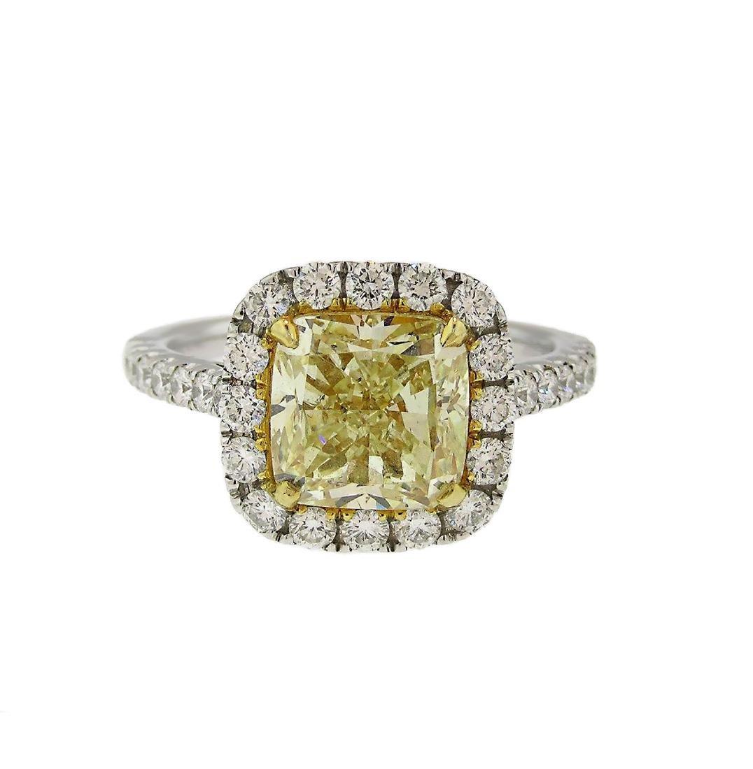 Cushion Fancy Yellow Diamond Halo Engagement Ring