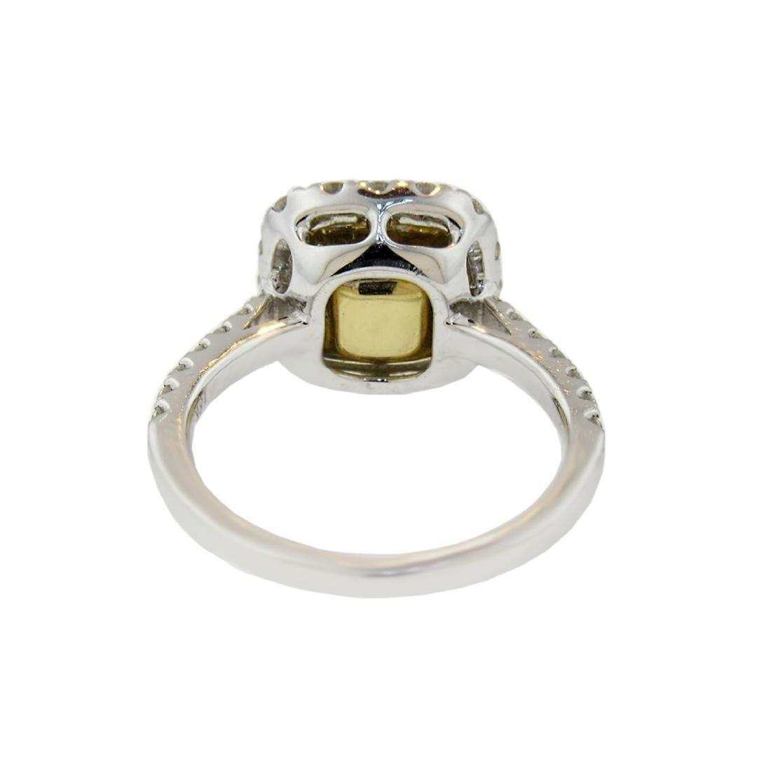 Cushion Fancy Yellow Diamond Halo Engagement Ring - 3