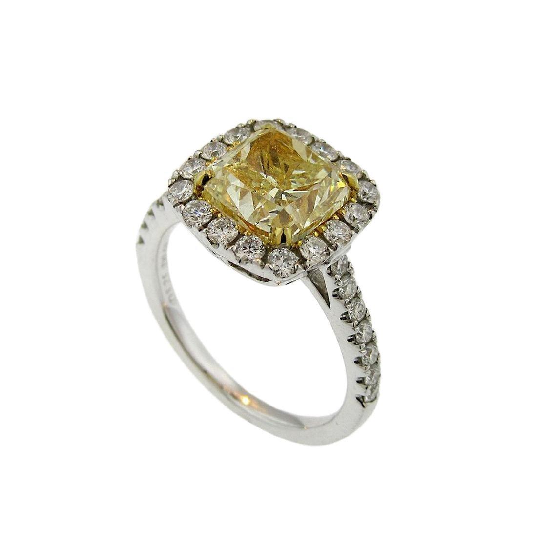 Cushion Fancy Yellow Diamond Halo Engagement Ring - 5