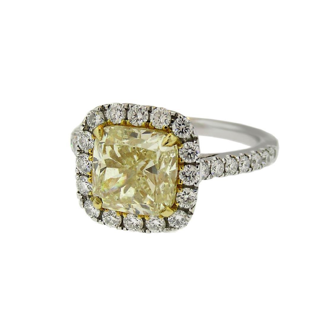Cushion Fancy Yellow Diamond Halo Engagement Ring - 6