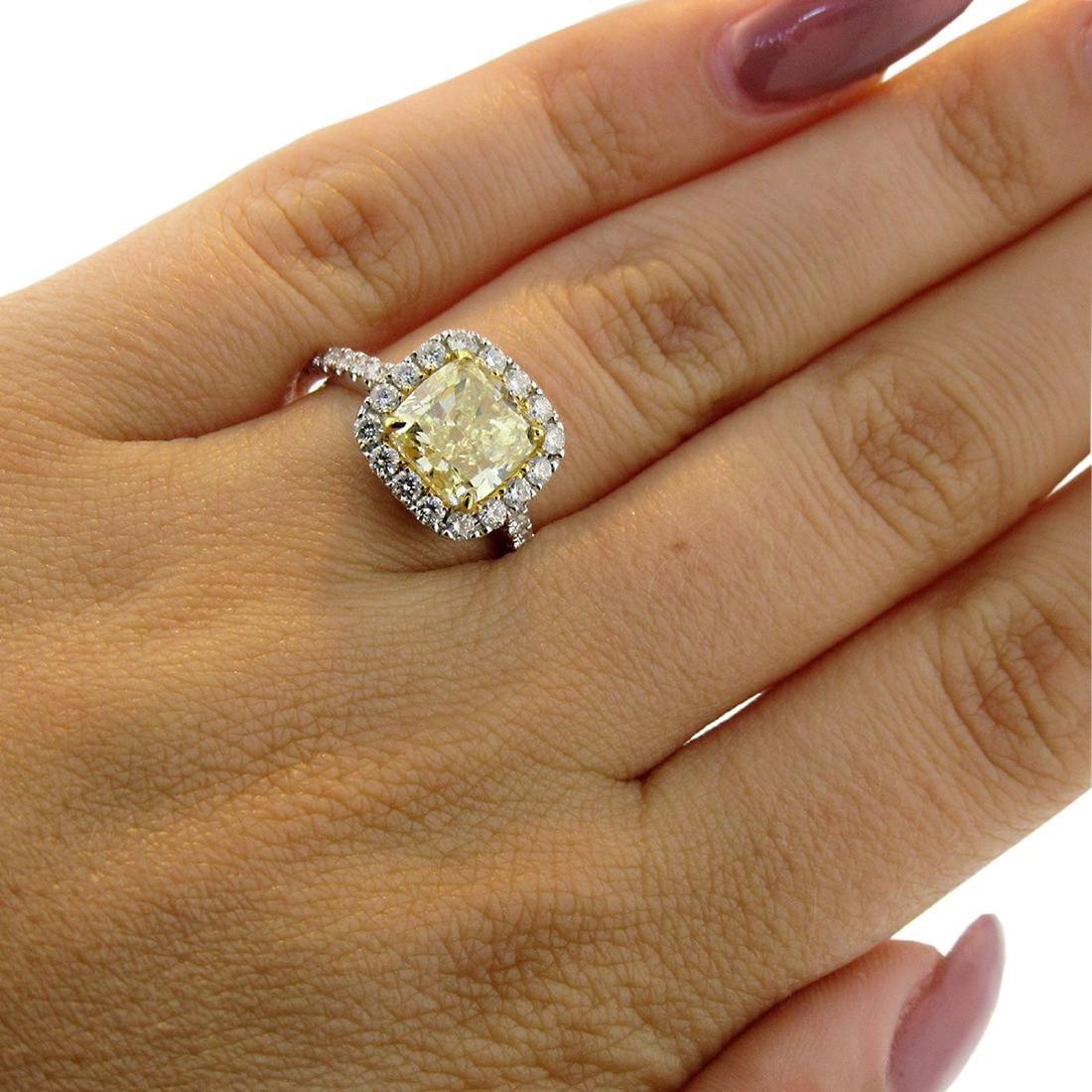 Cushion Fancy Yellow Diamond Halo Engagement Ring - 7