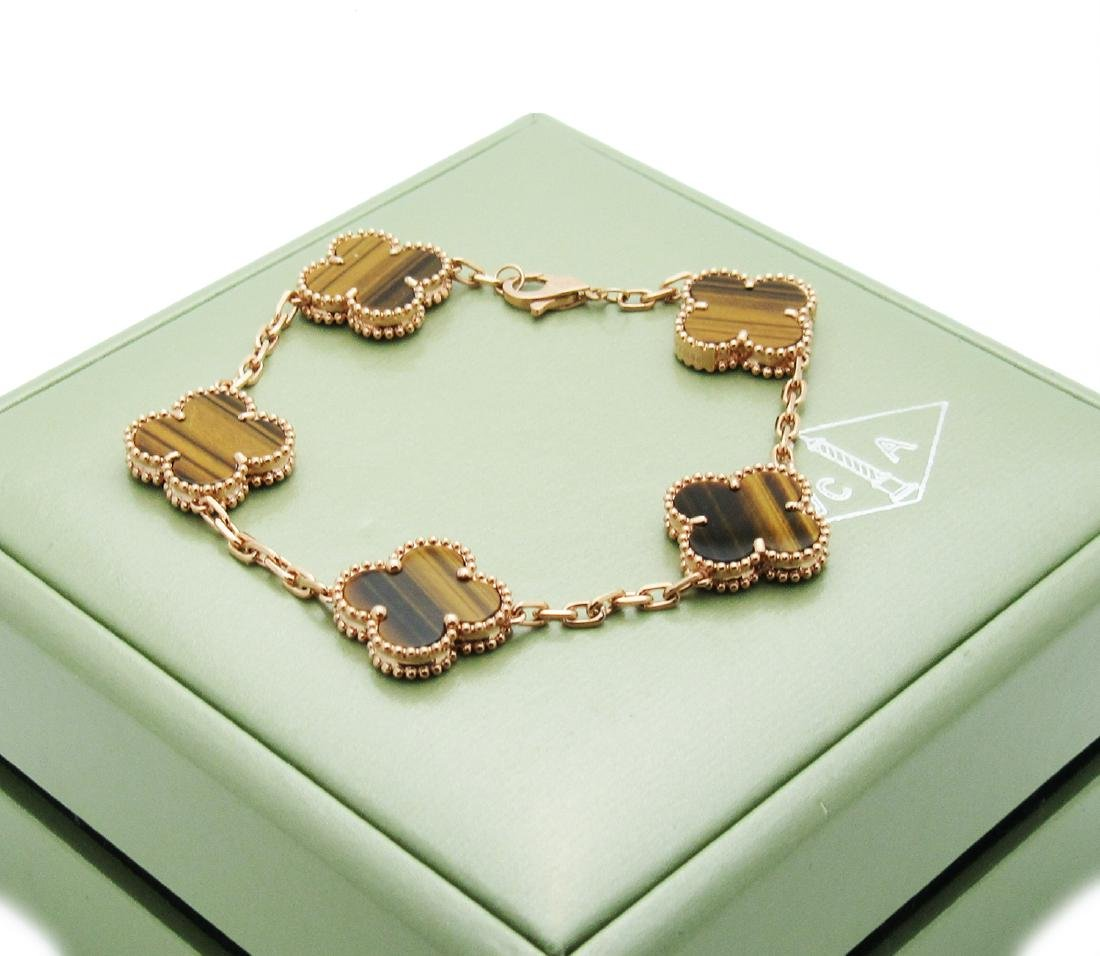 Van Cleef & Arpels 18k Rose Gold Tiger Eye Alhambra