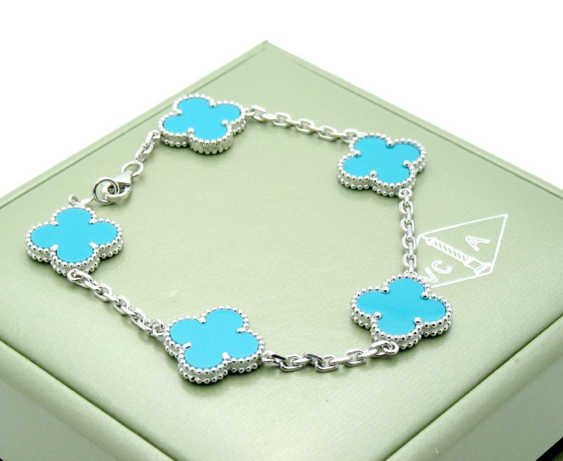 Van Cleef & Arpels 18k Gold Turquoise Alhambra Bracelet