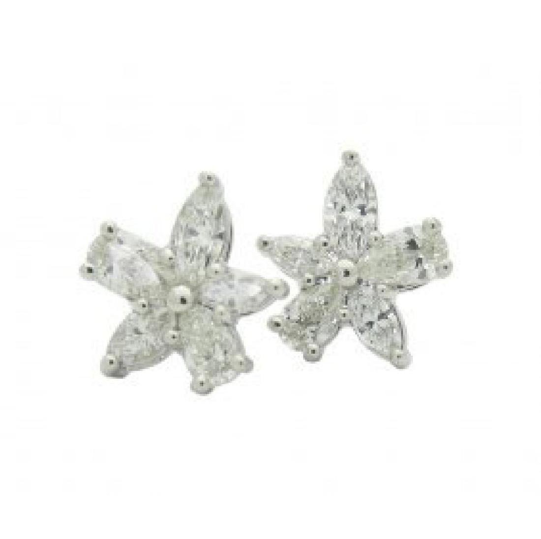 Tiffany & Co Platinum Victoria Diamond Cluster Earrings