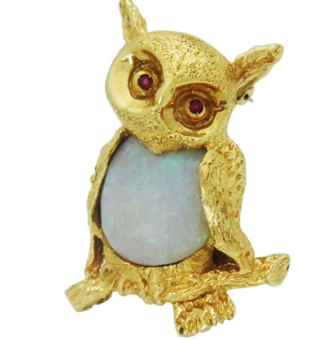 Estate 14k Gold Opal Owl with Ruby Eyes Brooch Pin