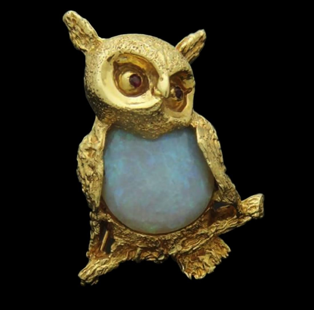 Estate 14k Gold Opal Owl with Ruby Eyes Brooch Pin - 4