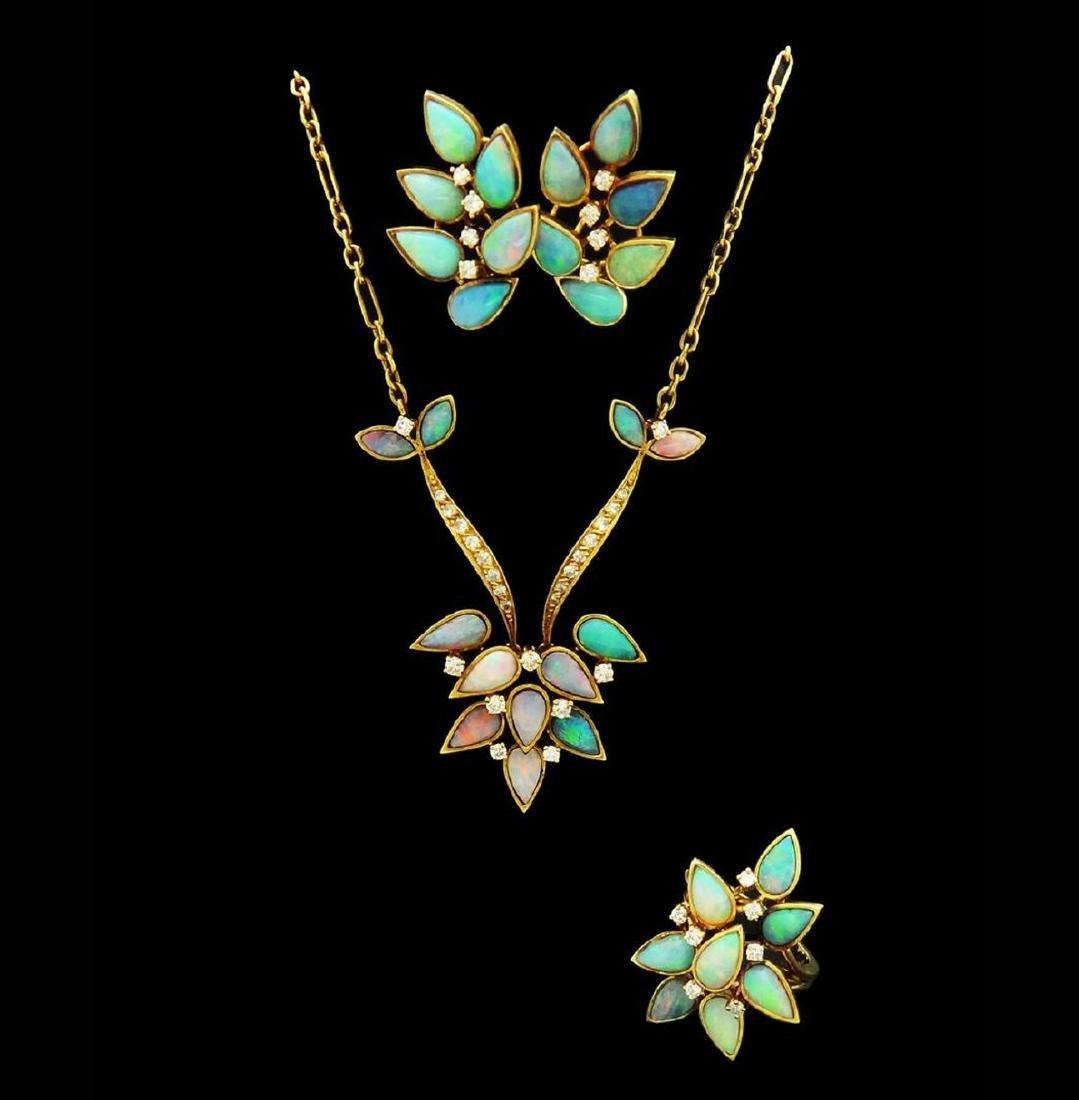 18K Opal Diamond Necklace Earrings & Ring Set