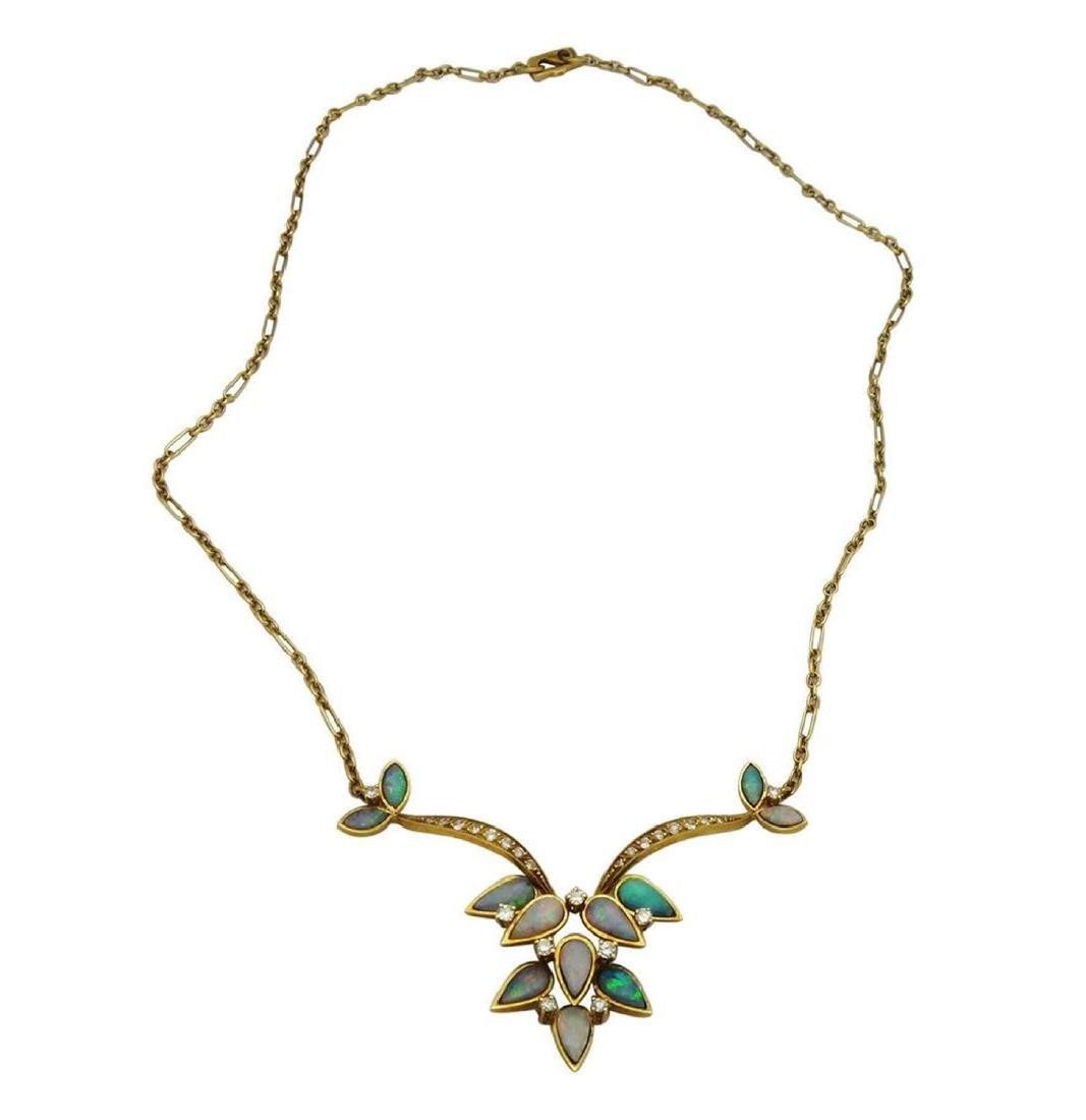 18K Opal Diamond Necklace Earrings & Ring Set - 2
